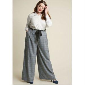 ModCloth Wide Leg Plaid Trousers